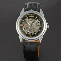 New hot sale winner silver skeleton watch for men automatic winder movement