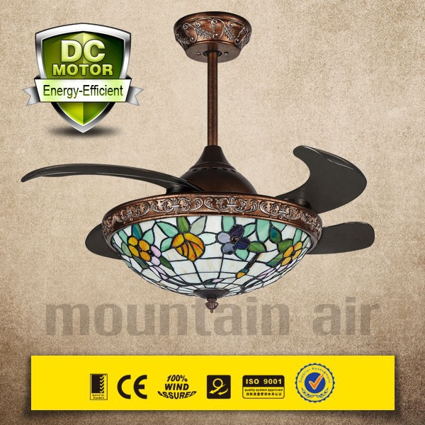 New model BLDC ceiling fan with LED light and hidden blades