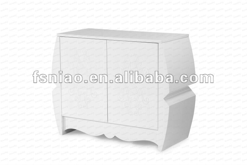 high glossy white carve shape Modern wooden Buffet SK1220M