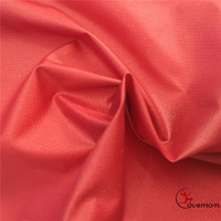 Hot Sale Clear Transparent Red 0.8MM Woven Ripstop Downproof Nylon PU Coated Fabric for coat