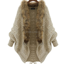 Bat Wing Sleeves Knit Fur Collar Cape Sweater