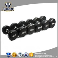 rubber round dumbbell printing kg black chrome bar