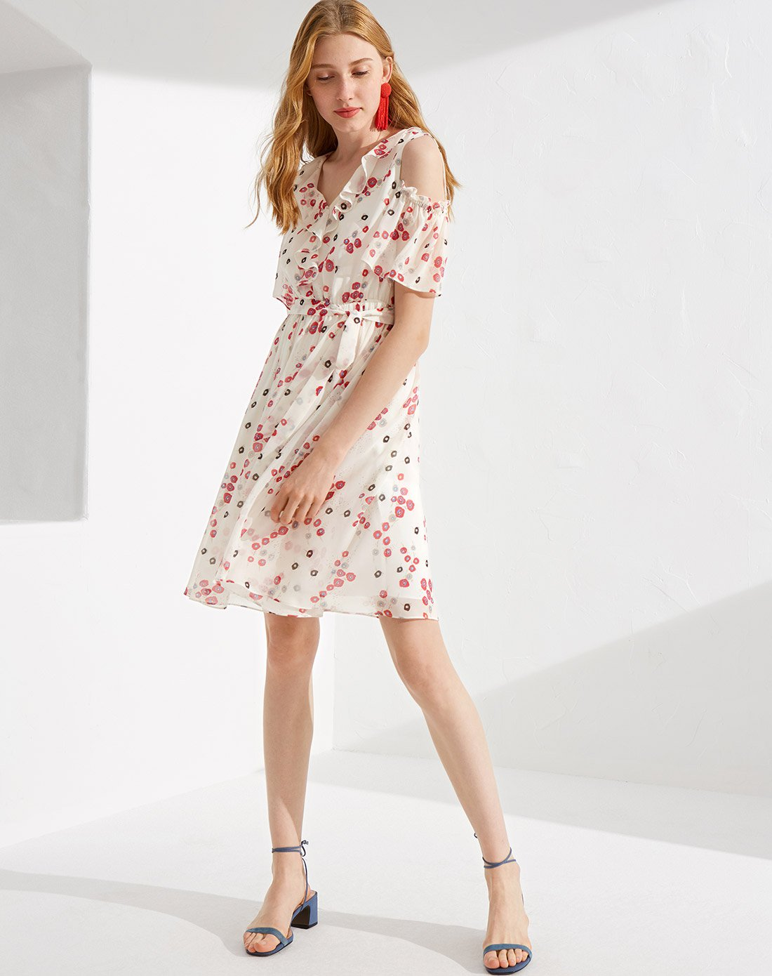 Elegant women floral printed party summer dress