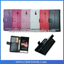 New Lychee PU Wallet Leather Case For Sony Xperia P LT22i With Stand,For Xperia P LT22i Cover Flip Case,High Quality