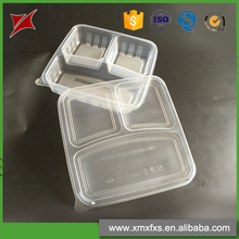Custom made packaging PS disposable plastic food container 3 compartment
