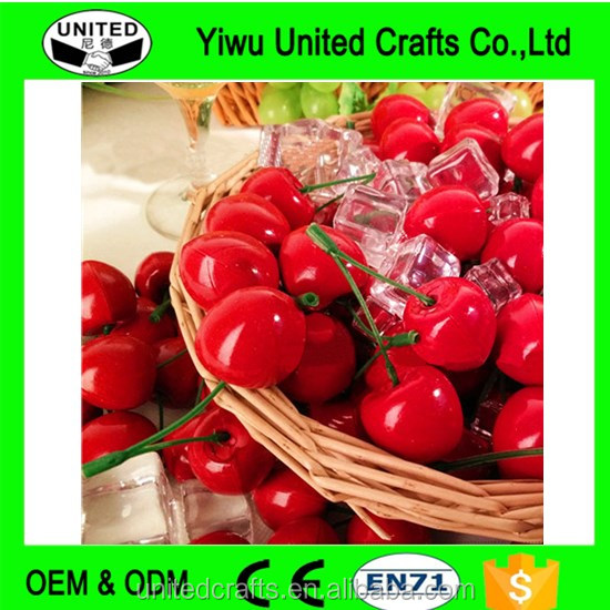 20pairs Artificial Fake Red Fruit Cherries Lifelike Decorative Fruit Cherry Foam