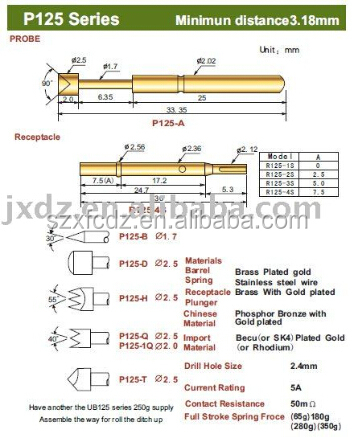 test probe,test probe pin,high quality and good price P125 series spring loaded PCB test probes pin