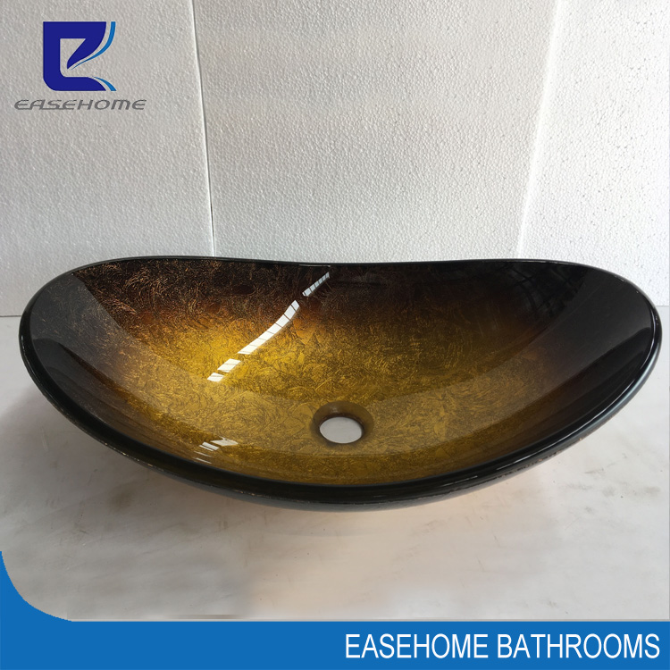 Newly Art Mixed Colored Bathroom Tempered Glass Sink Bowl