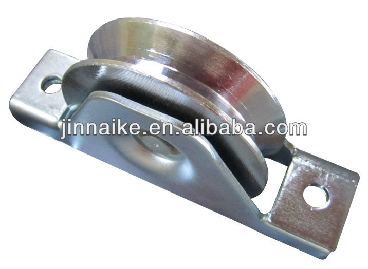 bearing wheel with steel bracket supported V groove for heavy duty gate