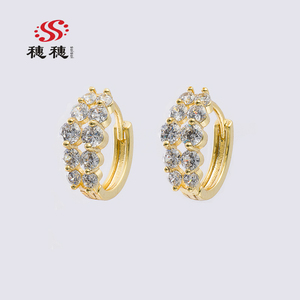 SUISUI 2018 new wholesale high quality 18k gold plated zircon earring indian earring for women