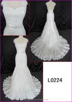 2014 guangzhou top quality real photo sexy mermaid wedding dresses with lace and beaded sash/belt/keyhole back fishtail L0224