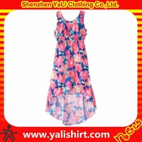 Wholesale comfortable cheap bulk full printing cotton short front & long back flower girl dress
