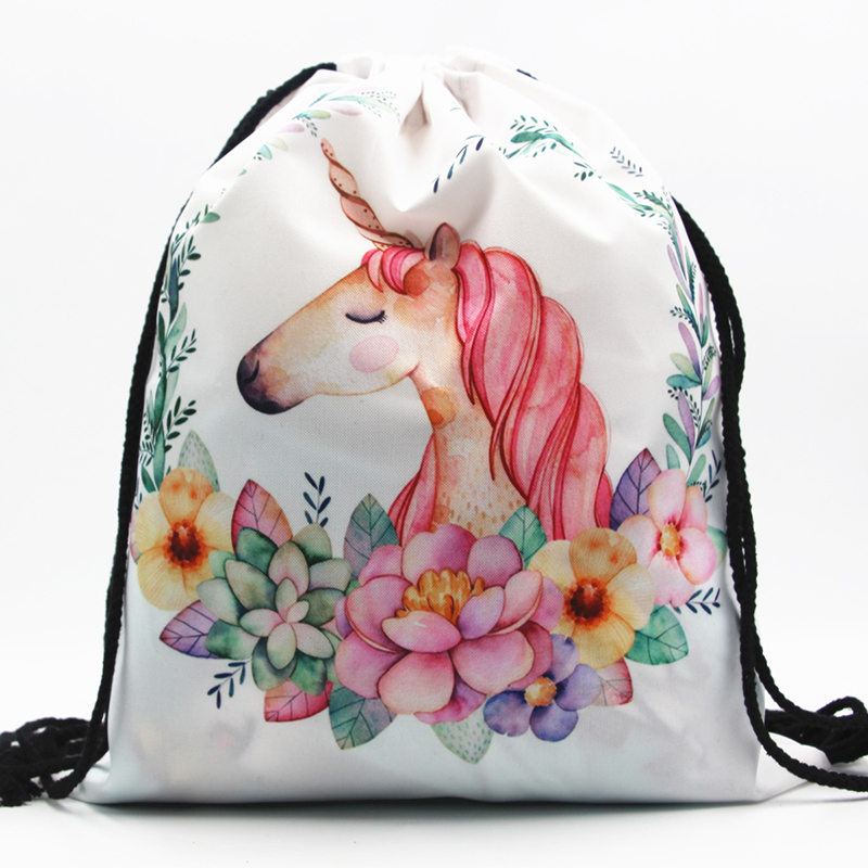 Cute string backpack drawstring unicorn oxford <strong>bag</strong>
