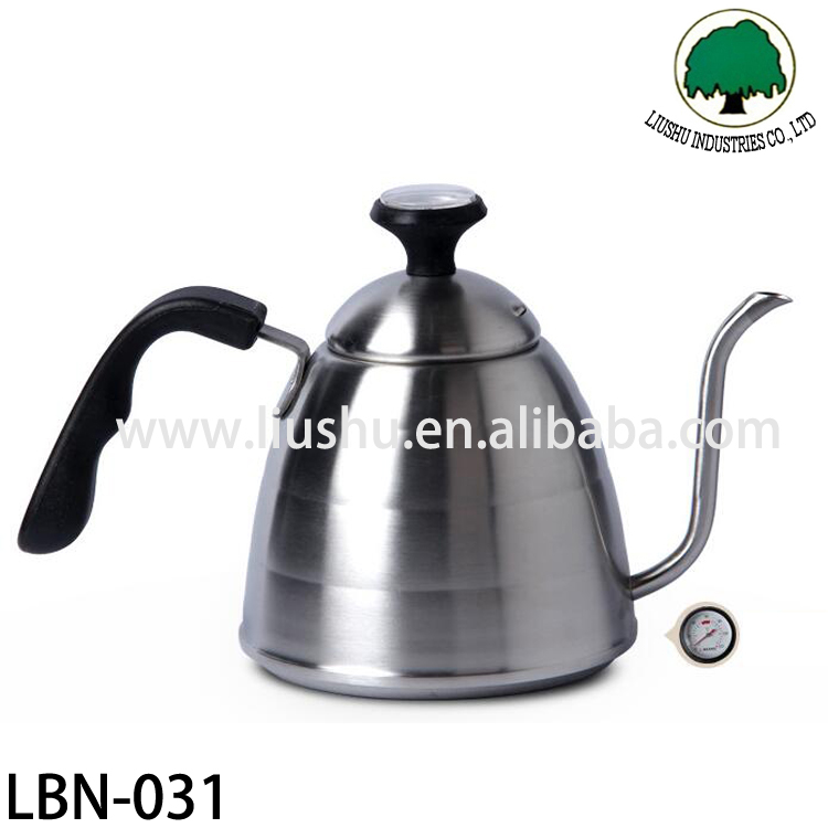 stainless steel gooseneck spout coffee drip pot with thermometer,kettle drip pot