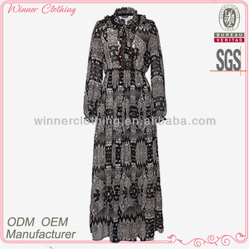 OEM factory new arrival fashion design frilled collar fancy printed kaftan and maxi dress