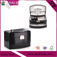 Personalized high quality small cheap faux pu/pvc leather portable jewelry display cases
