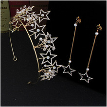 Fashion golden five-pointed stars <strong>crown</strong> with rhinestones and earrings set