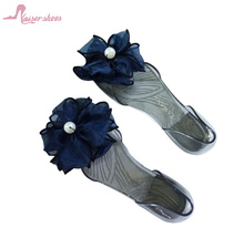 POKI2017-45 2017 high summer jelly shoes with flower cheap clear shoes jelly sandals