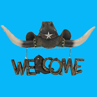 Western Cowboy Hat & Oxhorn Boot Hanging Resin Welcome Sign Wall Decor
