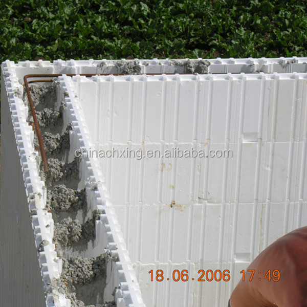 Icf insulated concrete forms foam block construction for Foam block wall construction