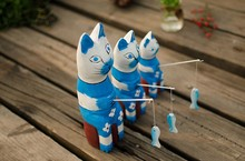 zakka,wooden cats are go fishing for home decoration,wood creative design,C1502