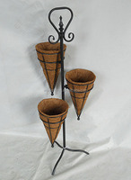 Decoration Wire Hanging Basket Flower Stand With Coco Liner