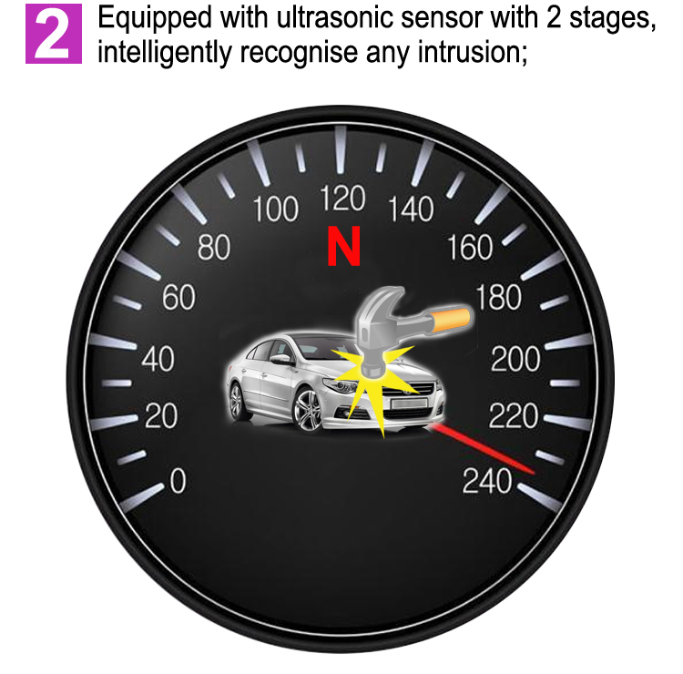 Adjustable two-stage vibration sensing car alarm Auto rearming immobilizer one way car alarm