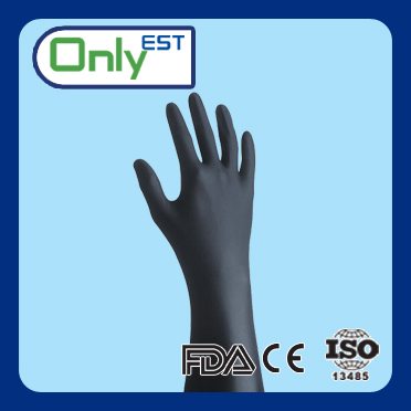 General use 4mil powder free nonsterile disposable black nitrile gloves with competitive price