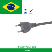 250V Brazil Plug 2 Pins Power Cord with H03VVH2-F Flat Cable