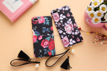 Hand rope Girls love flower soft cell phone cover cell mobile Phone case for i5 6 6plus/7 /7plus