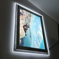 Frameless clear acrylic poster frames LED Crystal super thin sign picture frame