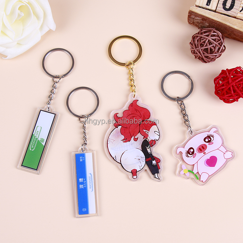 LOW MOQ cartoon double side printed anime craft custom transparent acrylic beautiful charms keyring wholesale