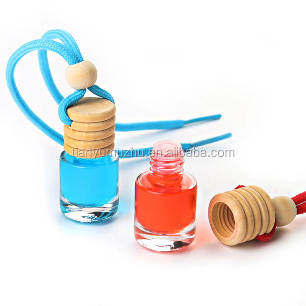 5ml round empty hanging car perfume wooden cap