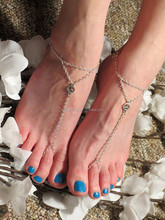 Peace Sign Anklet Ankle Bracelet Foot Thong Barefoot Toe Ring Chain Sandal Beach