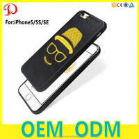 3D Zipper Embroidery PC+Silicon Mobile Accessories Phone Case for iphone 5/5s