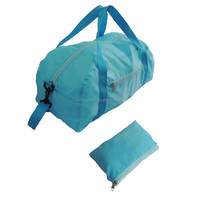 lightweight light blue soft 210D polyester folding travel bag