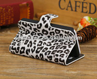 Luxury Folded Leopard Print Hard PU Case with Support Stand for iPhone 5 5S 5C