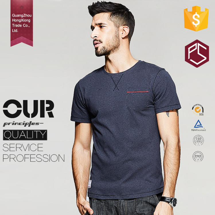 OEM Design Your Own High Quality O Neck 180grams Chest Pocket Navy Organic Cotton Men Wholesale T-shirts