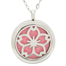 Stainless Steel Jewelry Manufacturer New Design Life Flower Wholesale Aromatherapy Essential Oil Necklace Diffuser