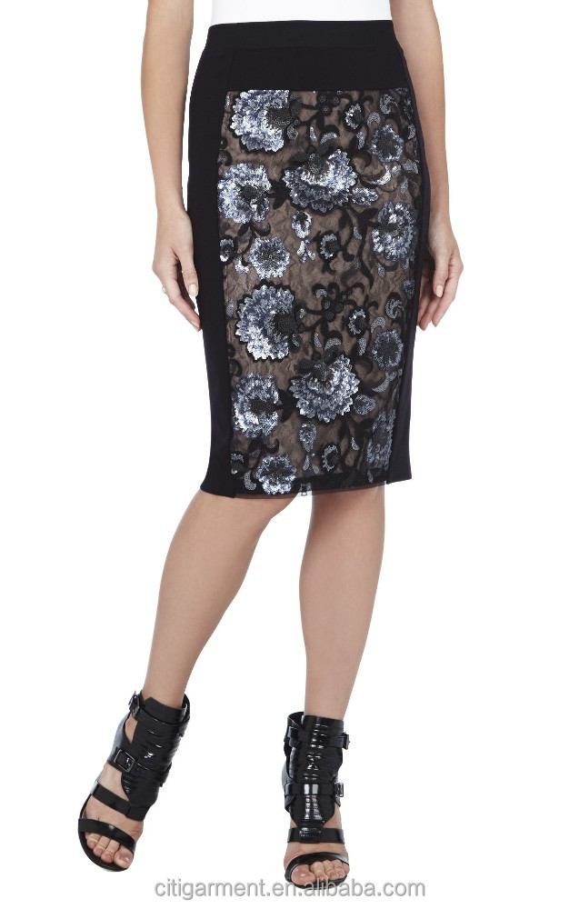 Women Floral Sequined Pencil Skirt