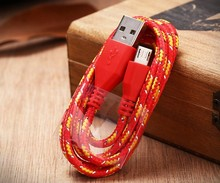 Phone accessories colorful nylon usb cable charger and data sync for iphone samsung android phone