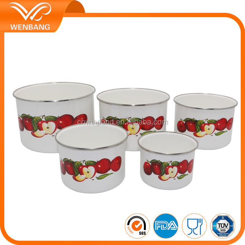 Enamel storage bowl set 5pcs deep mixing bowl set custom printed bowls
