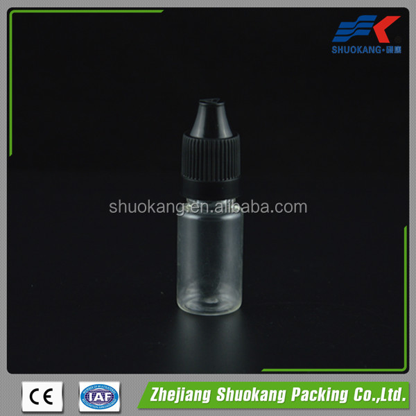 STOCK empty e liquid electronic cigarette plastic bottle 10ml PET dropper bottle with cap