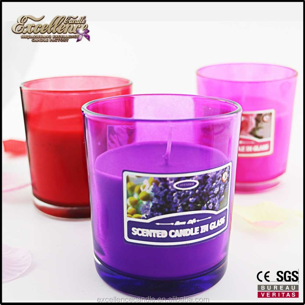 soy/paraffin wax candles scented candles making in stained glass jar with small size