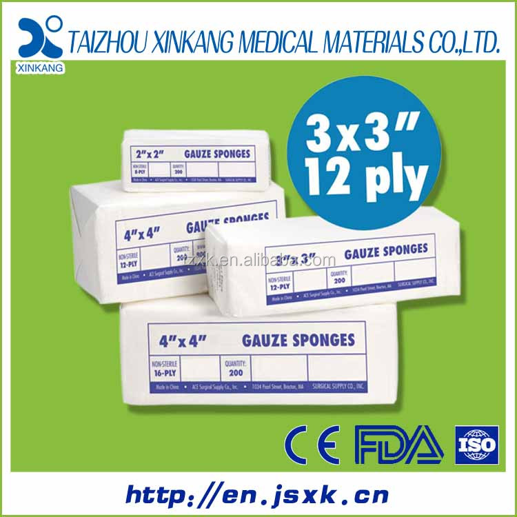 Gauze swabs 100% cotton gauze and tubular net distributor with CE&FDA certificates