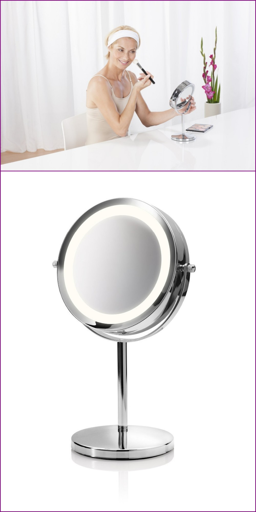 Hot Selling Professional Round Lighted Cosmetic Standing