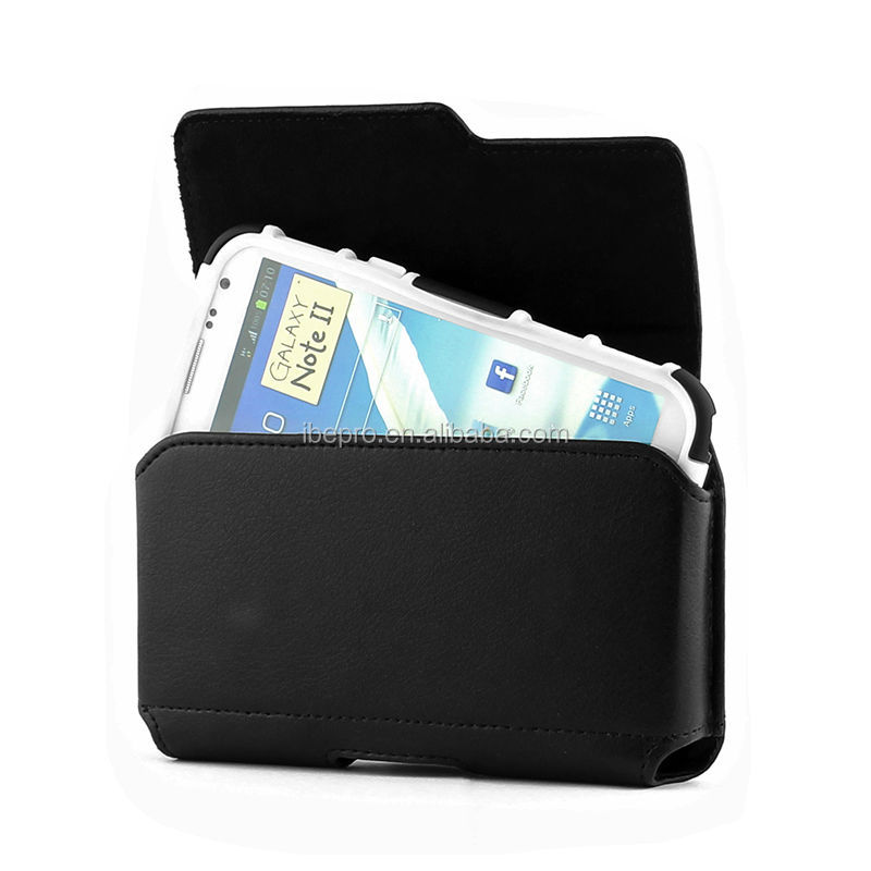 Black Pouch Belt Clip Leather Case For Samsung Galaxy Note II 2 case
