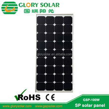 High Efficiency 22% 100 Watt Photovoltaic Monocrystalline Silicon Material mono solar panel for PV power station