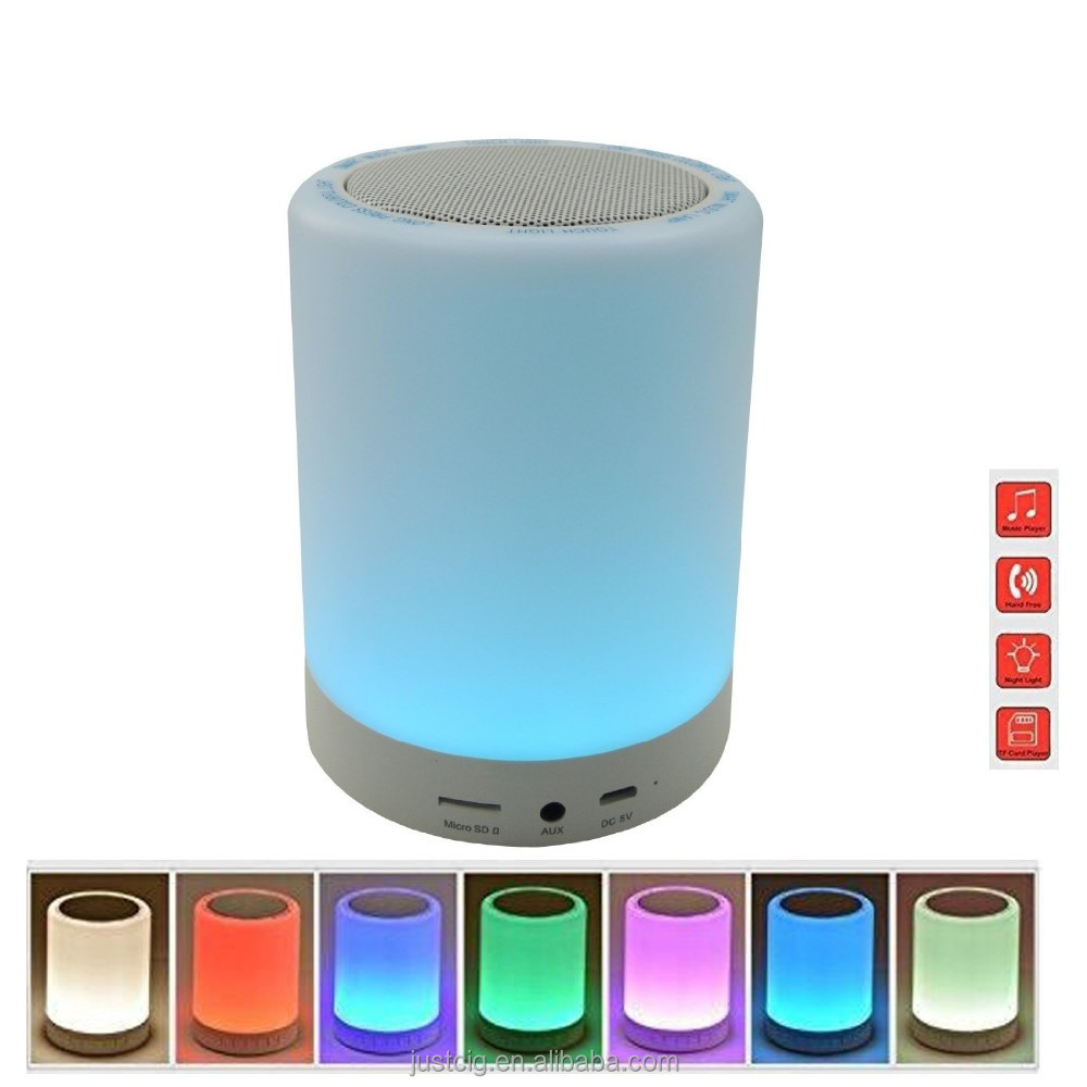 Color changing wireless bluetooth speaker subwoofer touch sensor lamp with LED night light