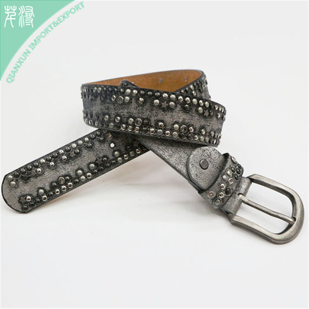 BLT-106837 Top-grain Leather Pin Buckle Rivets Studded Women Belt